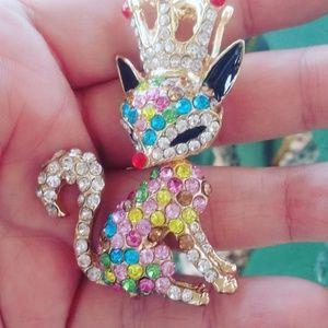 Betsey Johnson rainbow fox necklace
